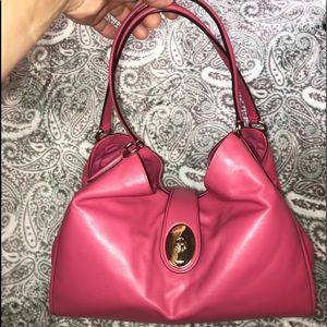 Coach Pink Leather Carlyle Shoulder Bag